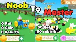 Noob To Master! 50 Rebirth! 1 Trillion Coins! Leaderboard! - Pet Ranch Simulator