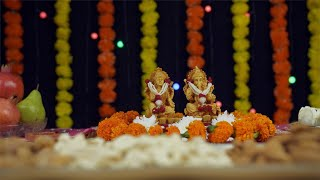 Low angle shot of Ganesh Ji and Laxmi Ji on Diwali - the festival of India