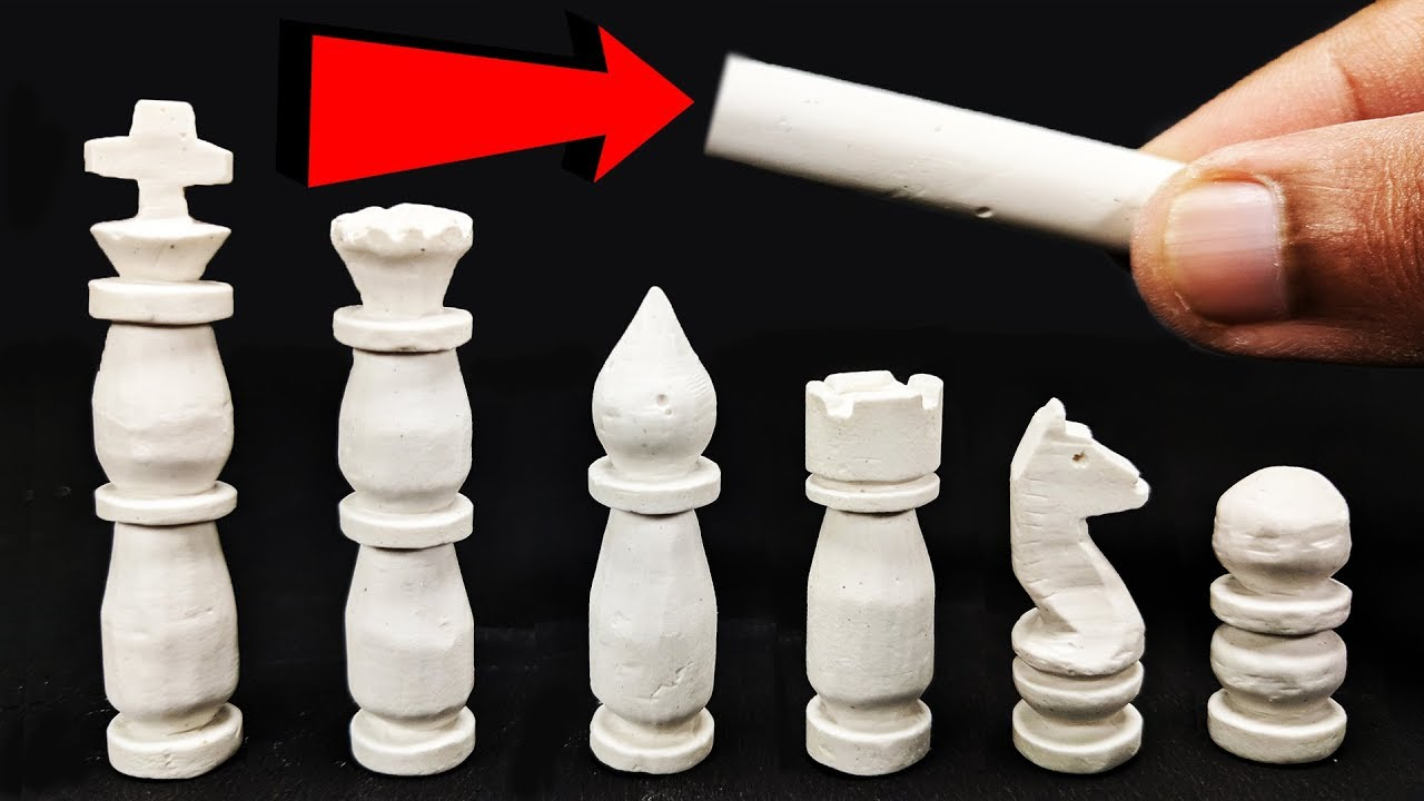 How to make chess pieces set out of chalk carving diy