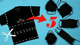 DIY NO SEW Face mask from T-shirt - Face Mask NO Sewing Machine - how to make face mask