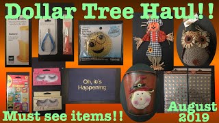 Dollar Tree Haul! Must see new items! Fall decor!!- August 31, 2019