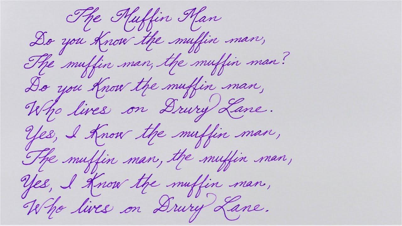 the muffin man  u2666 written in cursive  u2666 nursery rhyme for kids