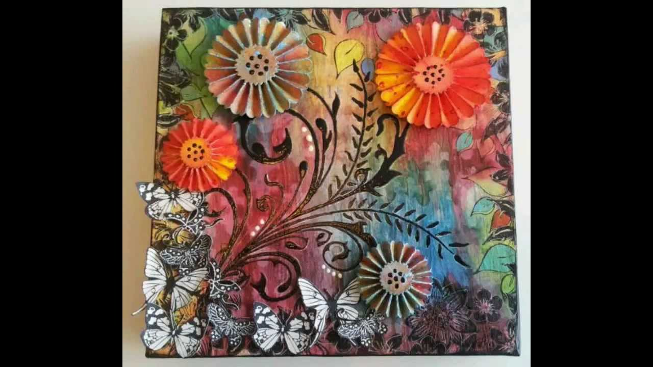 Mixed media canvas flowers butterflies