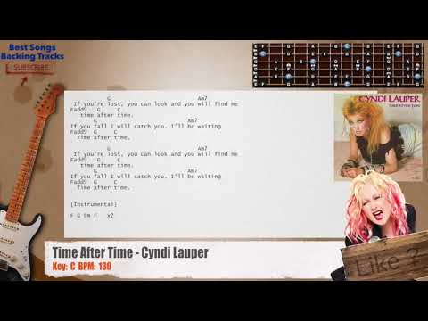 Time After Time - Cyndi Lauper Guitar Backing Track with chords and lyrics
