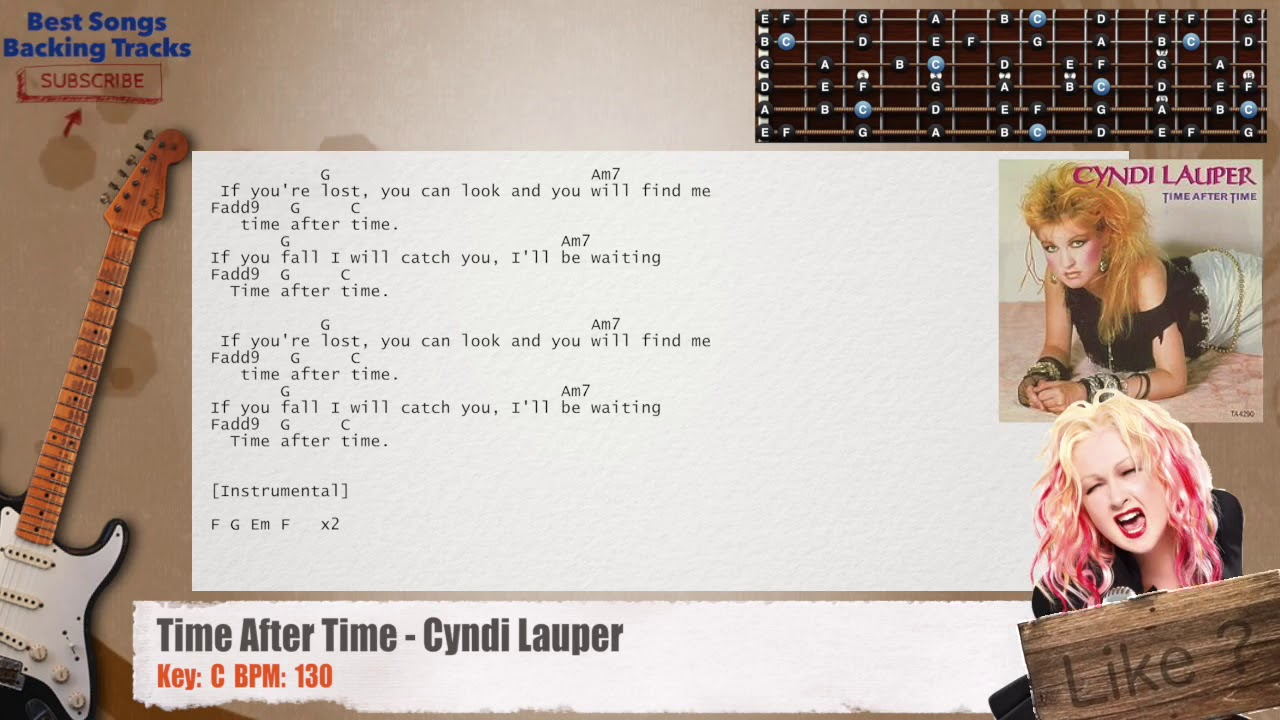 Time After Time Cyndi Lauper Guitar Backing Track With Chords And
