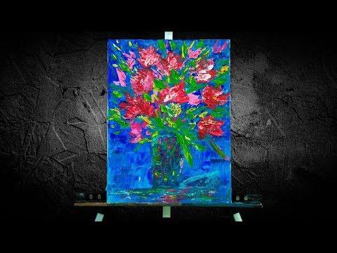 Цветы в вазе акрилом Абстрактная живопись. Картина для интерьера. Абстрактная картина за 15 мин.
