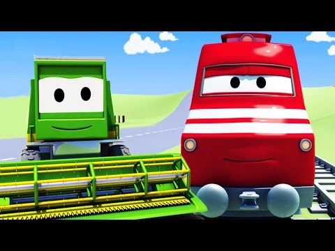 Troy The Train and the Harvester in Car City | Cars & Trucks cartoon for children