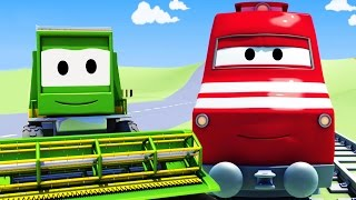 troy the train and the harvester in car city   cars trucks cartoon for children