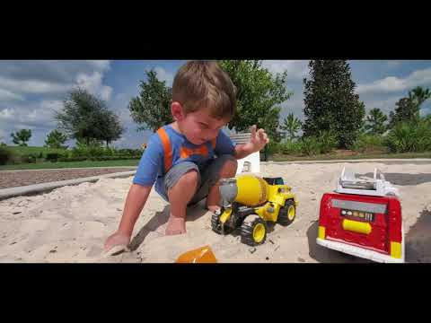 Garbage Truck, Firetruck, Cement Truck Playing In A Sandbox For Toddlers Jonathan's PLayhouse