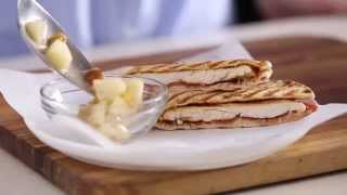 Chicken-Pizziola Panini with Green Tea Spiced Pears