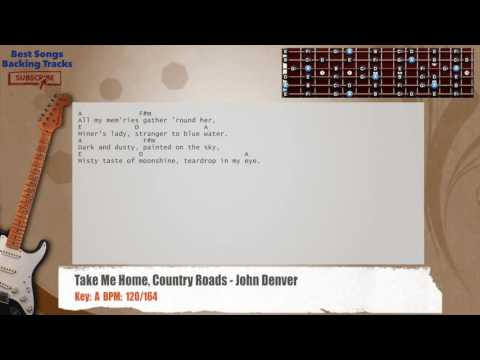 Take Me Home, Country Roads - John Denver Guitar Backing Track with chords and lyrics