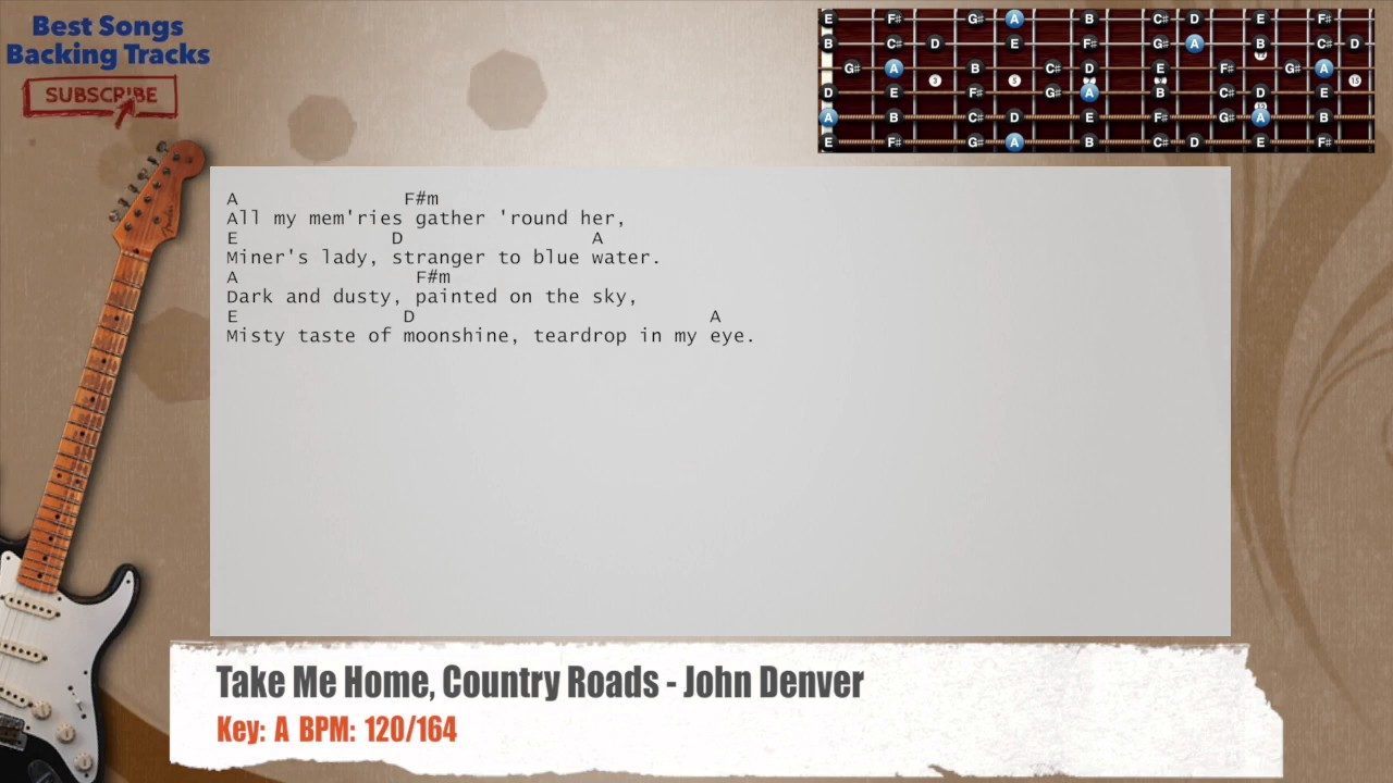 Take Me Home Country Roads John Denver Guitar Backing Track With