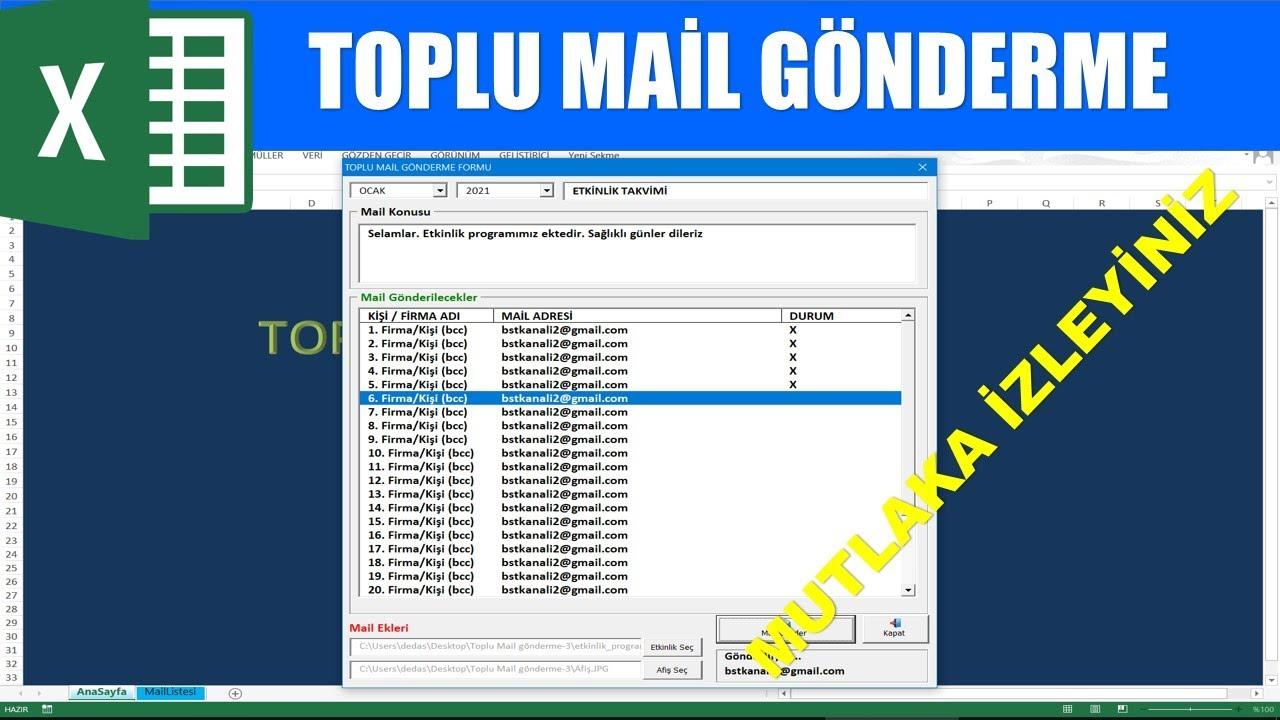 Excel VBA ile toplu mail gönderme programı