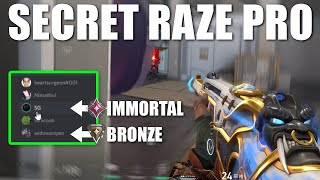 I pretended to bę a BRONZE RAZE then carried my Immortal team in Valorant