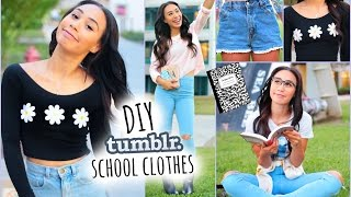 DIY Tumblr Inspired School Clothes! Shopping Life Hacks for Back To School 2014(Today Im showing you how to make cute, expensive clothes for LESS! LETS GET THIS VIDEO TO 50000 LIKES! twitter: https://twitter.com/lifeaseva See My ..., 2014-07-26T00:05:30.000Z)