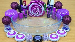 NEON PURPLE SLIME Mixing makeup and glitter into Clear Slime Satisfying Slime Videos