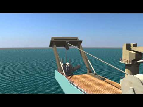 Lowering Subsea Plough into the sea part 1