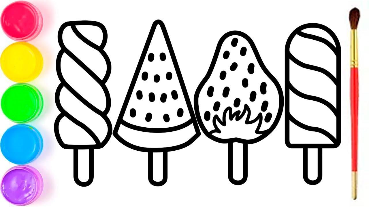 Pelajari Menggambar Dan Mewarnai Es Krim Pelangi Untuk Anak Anak