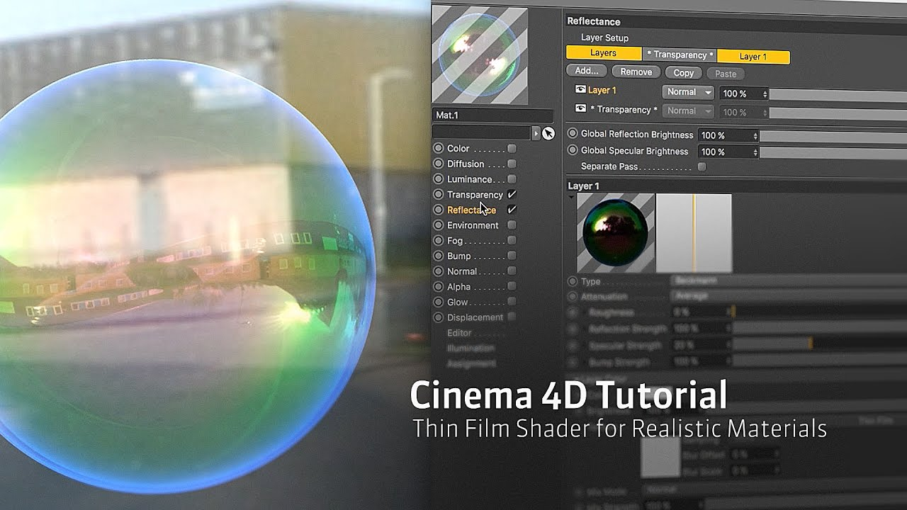 Cinema 4D R18 Thin Film Shader for More Realistic Materials