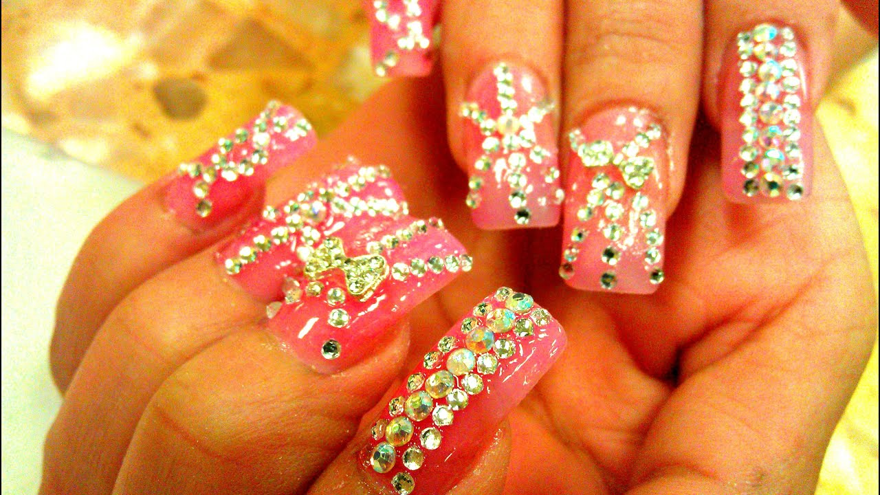 NAIL RHINESTONE DESIGNS DIAMOND TUTORIAL