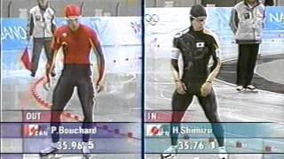 1998年、長野オリンピック。スピードスケート男子500m。清水宏保金メ...