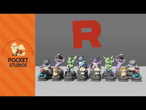 3D Pokemon Chess Set: Team Rocket Themed - 3D Pokemodelling