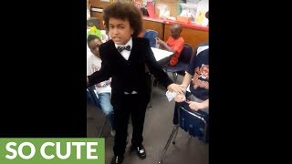 Little preacher gets classroom fired up for career day