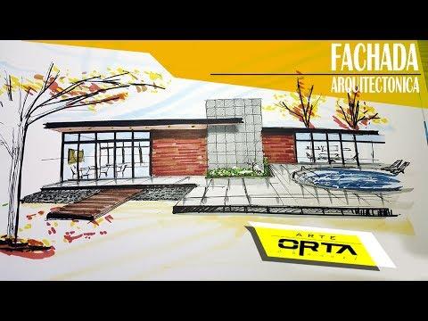 dibujo de la fachada posterior de una casa arte orta