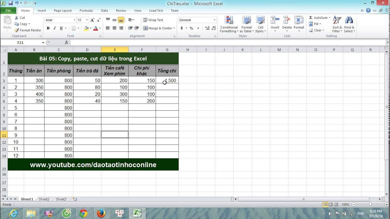 Hướng dẫn sử dụng Excel cơ bản: Copy, paste, cut dữ liệu trong Excel