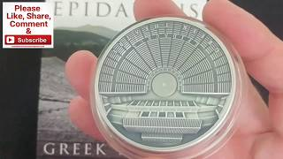 CSS Collectors Close up. Mint of Poland Epidaurus Greek Theatre Pure Silver Coin.