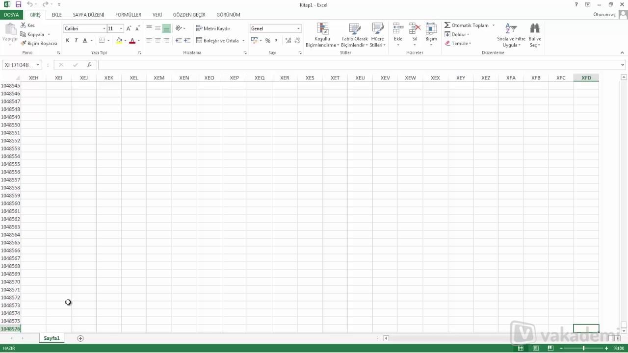 3 34 Microsoft Excel 2013 Calisma Sayfasi Tanitimi Youtube