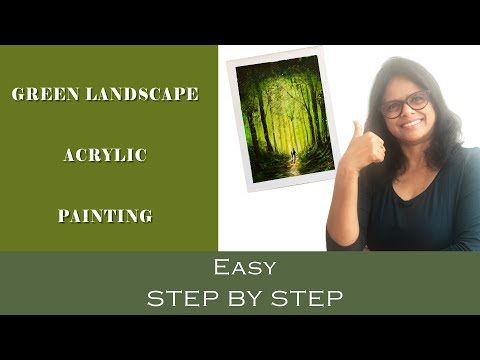 Green Landscape Acrylic Painting | Acrylic Painting Green Forest | Easy & Step by Step