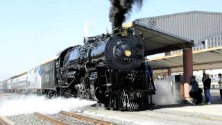Santa Fe 3751 Steam Locomotive leaving Los Angeles for San Diego