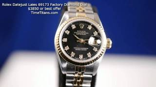 Rolex Datejust Factory Diamond Dial 69173 18k and Stainless