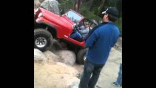 Slick Rock Little Red Jeep Struggled On The Ladder