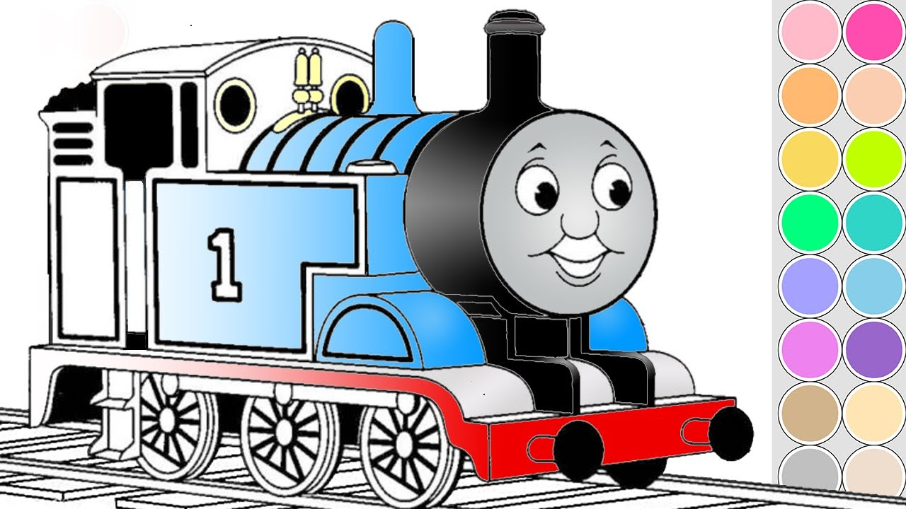 Coloring Thomas train for kids. Drawing animation Thomas and Friends ...