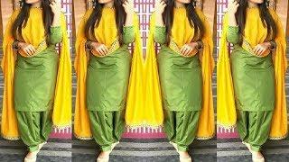 Plain Suit Designs College Wear     Latest Punjabi Suit    contrast dupatta suit   
