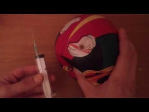 Как накачать мяч шприцем