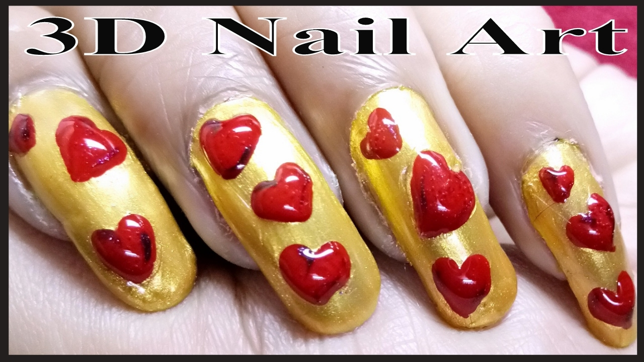 Easy Heart Nail Art Tutorial - 3D Love Symbol Nail Art - YouTube