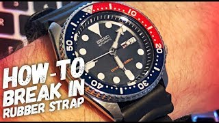 How to Break in a Rubber Watch Strap INSTANTLY - Seiko SKX009 with Stock Rubber Band