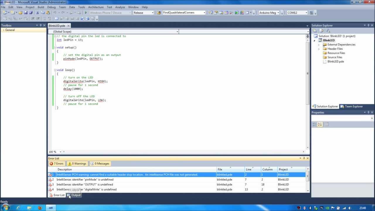 Tutorial programming an arduino using microsoft visual
