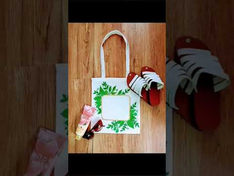 Leaves with Gold Square Line Border/ Tote Bags Painting/Fabric Painting