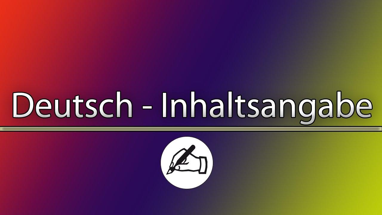 Deutsch Inhaltsangabe Youtube