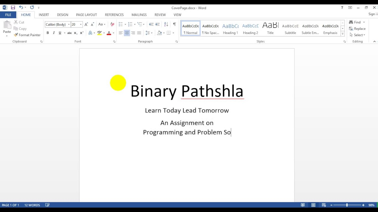 How to make a Cover PageFront Page for assignment in MS