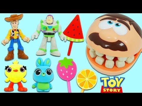 Disney Pixar Toy Story 4 Friends Woody & Buzz Lightyear Feed Mr. Play Doh Head!