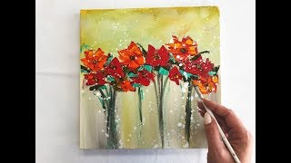 How to draw easy flowers painting Demonstration /Acrylic Technique on canvas by Julia Kotenko