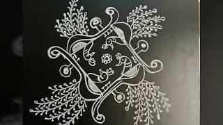 Simple Rangoli designs.. peacocks N veena..7 to 1 dots