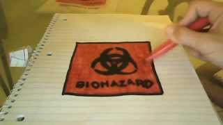 how to draw a biohazard sign.(BY:DRAGON)