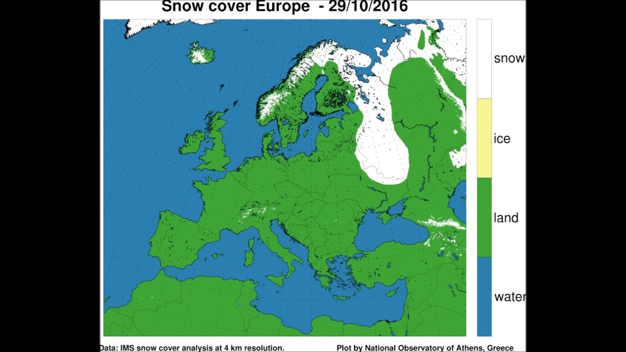 Snow Map Europe.Snow Cover Extent In Europe Oct Nov 2016 Youtube