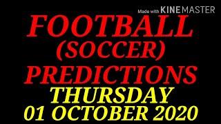 FOOTBALL PREDICTIONS SOCCER PREDICTIONS TODAY 01 10 2020